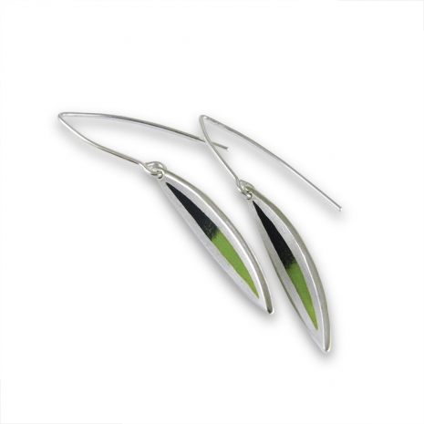 Salix Small Green Fade Hook Earrings by Chelsea E. Bird