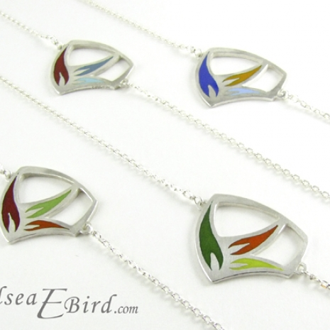 Sula Small Flower Pendants with Color Contrast options by Chelsea E. Bird