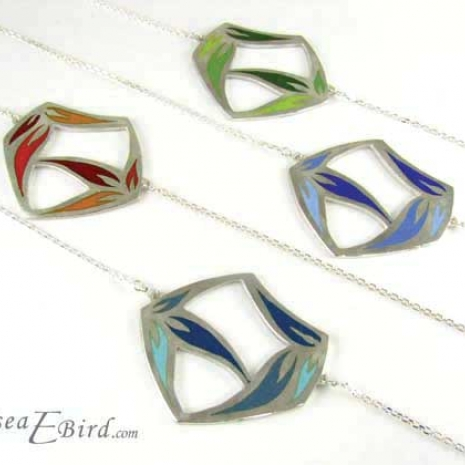 Sula Large Pendants Green, Red, Blue, and Teal. By Chelsea E. Bird