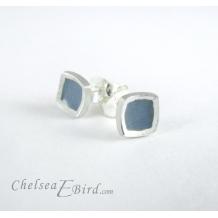 Chroma Teal Small Stud Earrings by Chelsea E. Bird