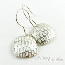 Chelsea Bird Designs Pixel Large Square Silver Hook Earrings