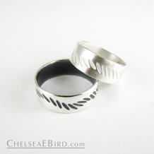 Chelsea Bird Parra Wave Band Ring Silver or Patina