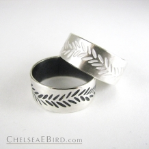 Chelsea Bird Parra Wide Braid Band Ring Silver or Patina