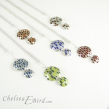 Chelsea Bird Jewelry Pixel Double Round Enameled Pendants