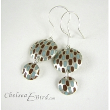 Chelsea Bird Designs Pixel Double Round Enameled Hook Earrings