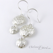 Chelsea Bird Designs Pixel Double Round Silver Hook Earrings