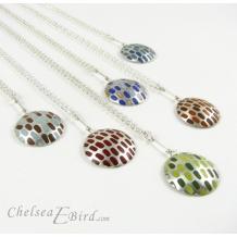 Chelsea Bird Designs Pixel Large Round Enameled Pendants