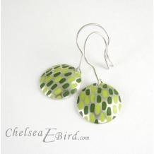 Chelsea Bird Designs Pixel Large Round Enameled Hook Earrings