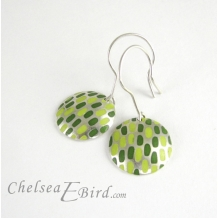 Chelsea Bird Designs Pixel Large Round Enameled Hook Earrings
