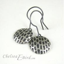Chelsea Bird Designs Pixel Large Round Patina Hook Earrings