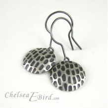 Chelsea Bird Designs Pixel Large Round Patina Hook Earrings