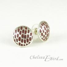 Chelsea Bird Designs Pixel Large Round Enameled Stud Earrings