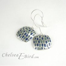 Chelsea Bird Designs Pixel Large Square Enameled Hook Earrings
