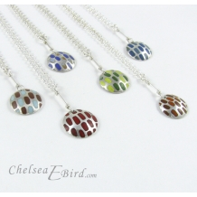 Chelsea Bird Designs Pixel Small Round Enameled Pendants