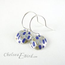 Chelsea Bird Designs Pixel Small Round Enameled Hook Earrings