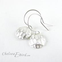 Chelsea Bird Designs Pixel Small Round Silver Hook Earrings