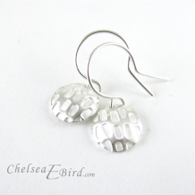 Chelsea Bird Designs Pixel Small Round Silver Hook Earrings