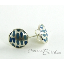 Chelsea Bird Designs Pixel Small Round Enameled Stud Earrings