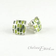 Chelsea Bird Designs Pixel Small Square Enameled Stud Earrings