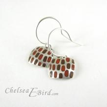 Chelsea Bird Designs Pixel Small Square Enameled Hook Earrings